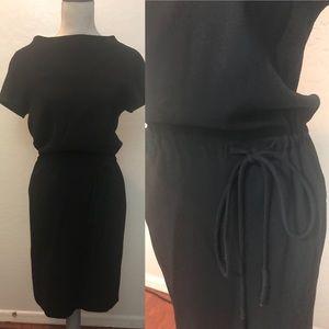 Escada Black Wool Sheath Dress With Waist Tie